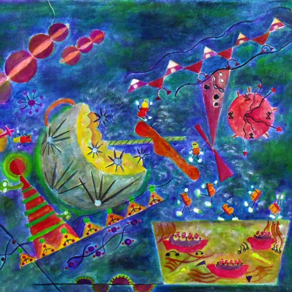 不思議な世界観を描く抽象画